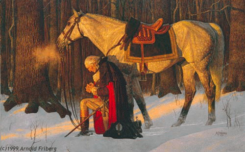 """The Prayer at Valley Forge by Arnold Friberg"" by Painting by Arnold Friberg. Licensed under Fair use via Wikipedia - https://en.wikipedia.org/wiki/File:The_Prayer_at_Valley_Forge_by_Arnold_Friberg.png#/media/File:The_Prayer_at_Valley_Forge_by_Arnold_Friberg.png"